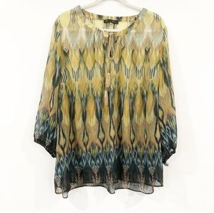 Rose & Olive Green Blouse size 3X